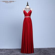 Red Beaded Pleat Silk Long Evening Dresses 2016 Backless Halter Neck Silm Robe De Soiree(China (Mainland))