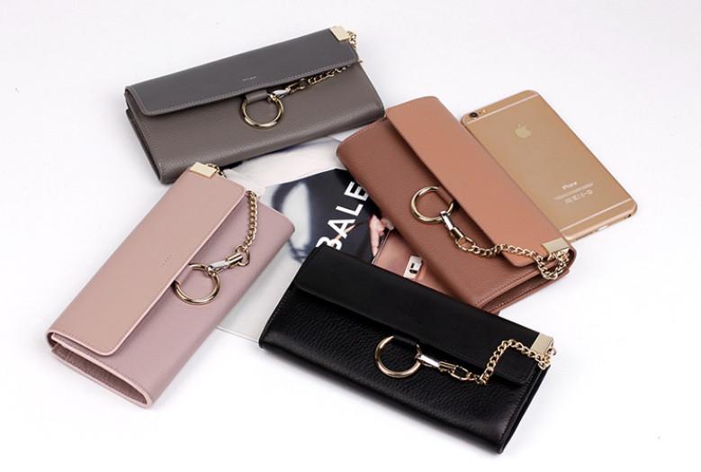 2016faye same design women genuine leather shoulder bag gold chain cow skin clutch bag(China (Mainland))