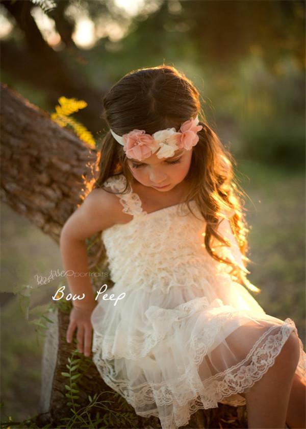 Children Girl Dresses -Girl Lace Dress- Rustic -Flower Girl Dress For Weddings,Girl Party Dress,Frock(China (Mainland))
