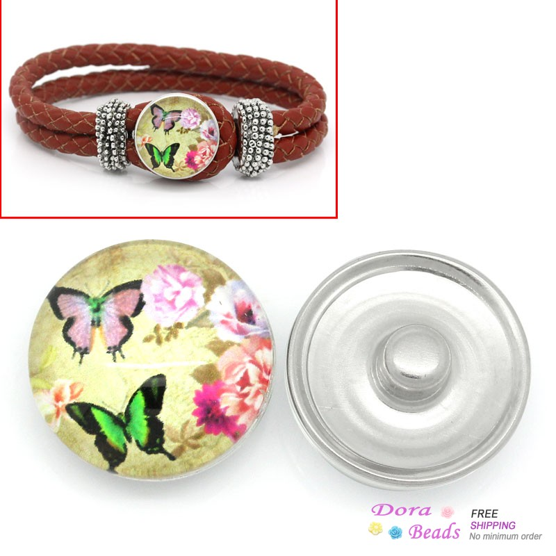 Glass Nice Buttons Fit Nice Bracelets Round Multicolor Butterfly Pattern 18mm Dia,Knob:5.5mm Dia,12PCs (B28138)8seasons(China (Mainland))