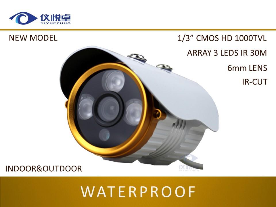 "Free Shipping Security CCTV Camera 1/3"" CMOS HD 1000TVL Night Vision Waterproof Outdoor 30m Surveilance Array 3LED ICR KING Q01(China (Mainland))"