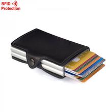 Marke Doppel Mini Brieftasche mit Automatische Kartenhalter Kreditkarte Fall Karte Organizer Rfid-karte Protector Männer Brieftaschen Frauen(China (Mainland))
