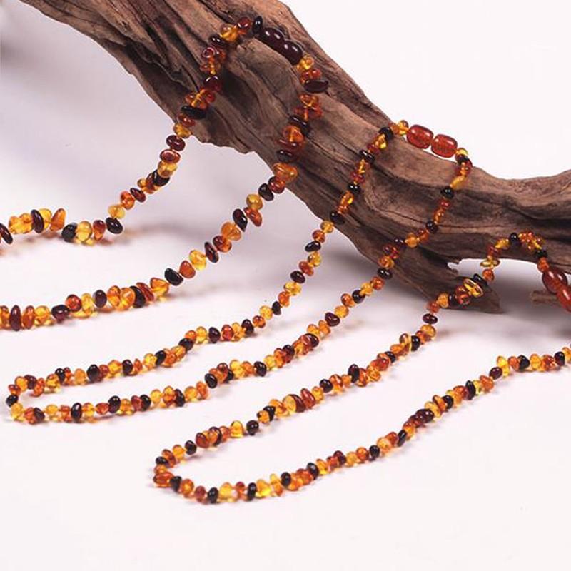 Детские teether сырье янтарь зубные ожерелье цвет меда, Природным янтарем ребенка режутся зубы ожерелье сырье нешлифованный бусины позволяет заработать