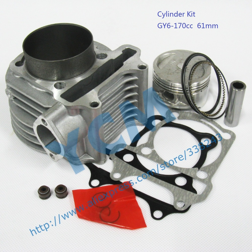6 pcs a lot Set of Cylinder Kit 61mm Chinese Scooter Engine GY6 125CC 150CC