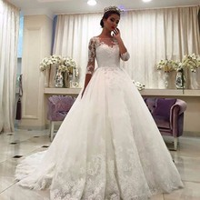 Custom Made Wedding Dresses with Sleeve Ball Gown Cathedral Train Bandage Wedding Gown Applique robe mariage Luxury Bridal Gowns(China (Mainland))