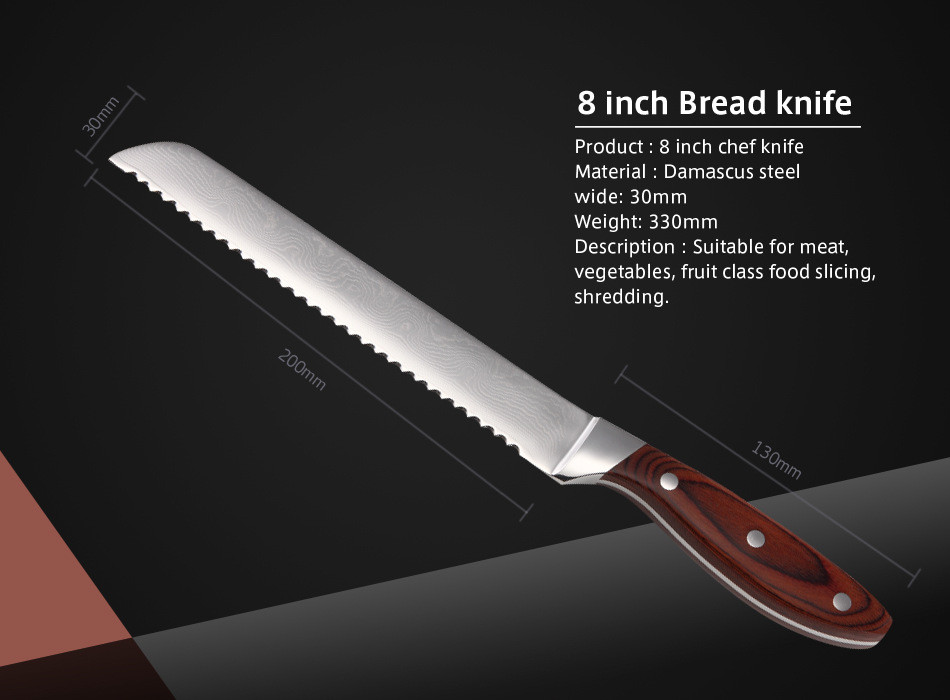 Buy 2016 Brand Top Quality Damascus Knife 8 inch Bread Knife With Wooden Handle Damascus Stainless Steel Kitchen Knives cheap