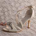 Wedopus Custom Handmade Off white Lace Summer High Heel Wedding Bridal Shoes Sandals with Applique