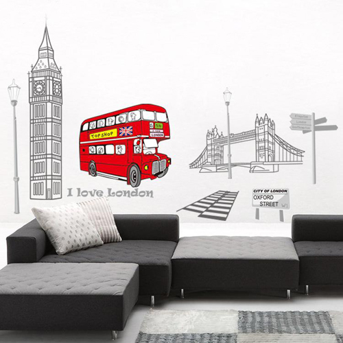 1 set 35*40 Inch Removable PVC Decals London Bus and Big Ben I Love London Wall Sticker For Bedroom Art Wall Decoration CC6911(China (Mainland))