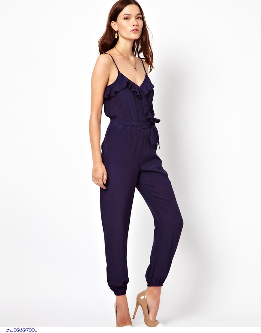 Womens Summer Sexy Cheap Blue Ruffle Jumpsuit With Belt LC6265 Elegant Novelty Casual Rompers ...
