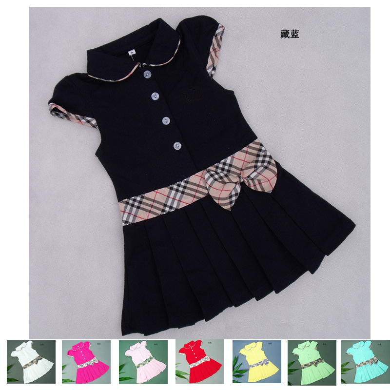 2014 New 5Pcs summer girl dresses brand sport princess pleated tennis dress for girls infant classic British plaid kids clothes(China (Mainland))