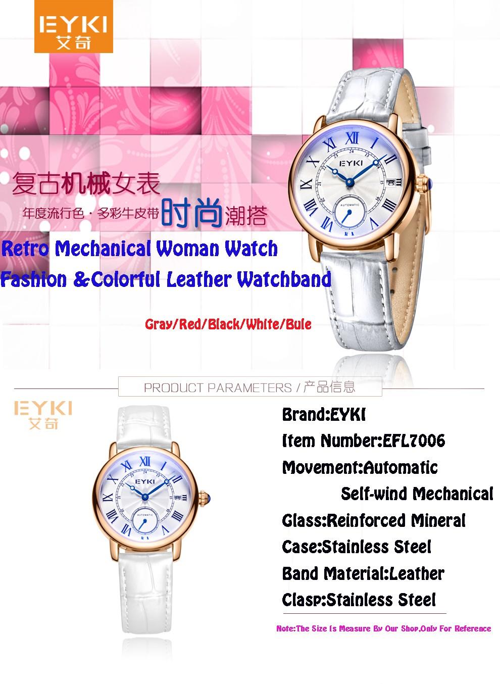 Newest EYKI Brand Fashion Woman Watches Luxury Sapphire Crystal Automatic Self-wind Mechanical Leather Wristwatch Reloj Mujer