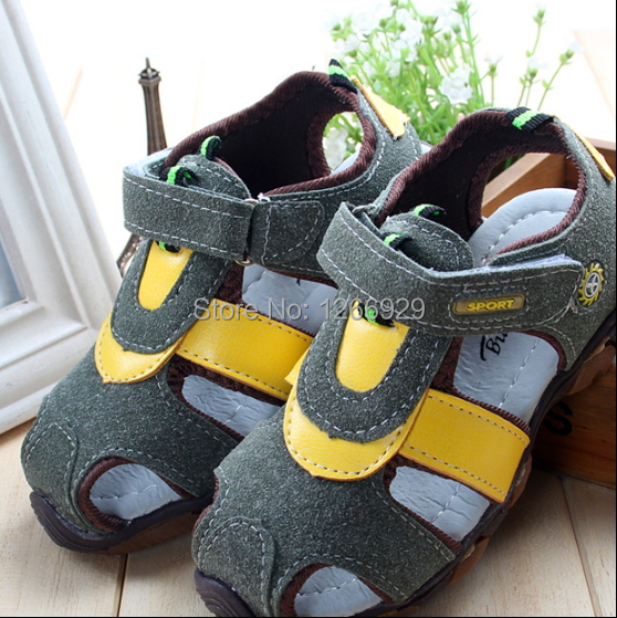 Summer the new boy's sandals frosted baotou baby shoes non-skid super soft goose bottom children sandals
