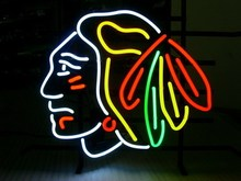 "FOR NHL CHICAGO BLACKHAWKS HOCKEY REAL GLASS NEON SIGN  LIGHT BEER BAR PUB 17*14""(China (Mainland))"