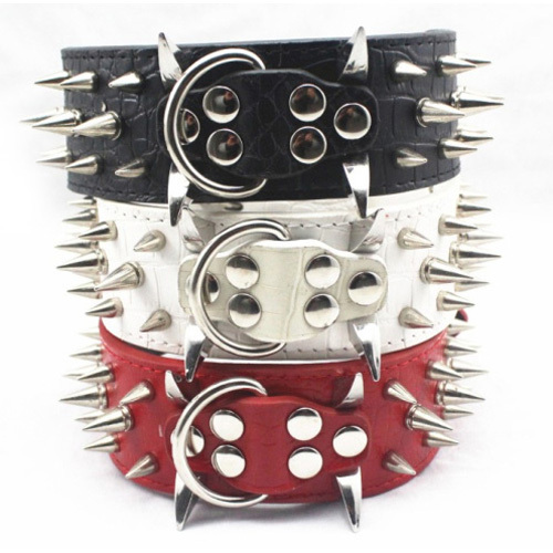 Brown Dog Collars Spiked&Studded Leather Sharp Spiked For Dog Collars Perro Pitbull(China (Mainland))