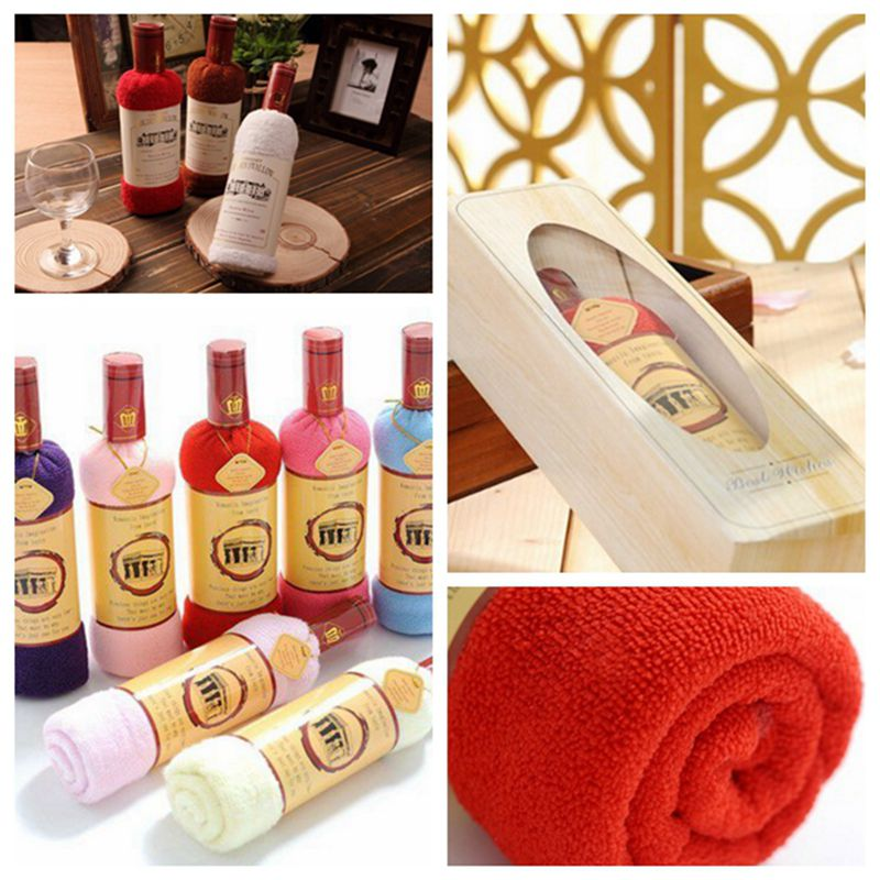 Creative Red Wine Bottle Shape Towel Gift Gift Bags Opp Single Wine Bottle Box Of 100% Cotton Towel Cake Gift(China (Mainland))