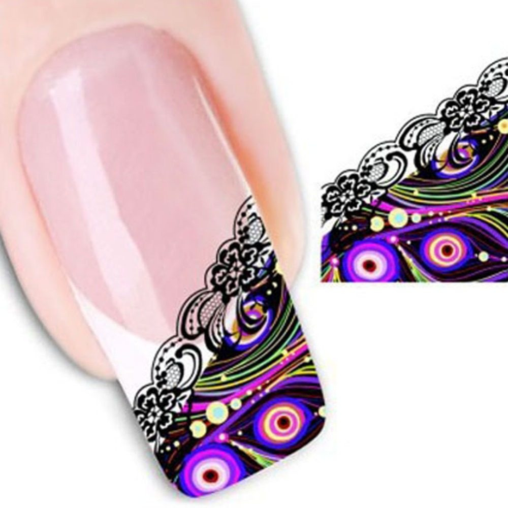 1 Sheets 3D Design Beauty Nail Art Water Transfer Sticker Decal for Manicure French Lace Tips DIY Nail Foils Stamp Tools(China (Mainland))