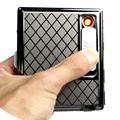 Creative Stainless Steel Cigarette Case with Electronic Rechargeable Windproof Flameless USB Cigarette Lighter