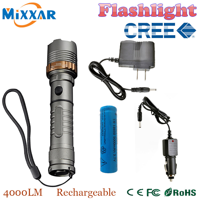 zk30 Self Defense LED flashlight Cree XM-L T6 Rechargeable 4000LM powerful Tactical Torch lamps 18650 5000mAh battery AC Charger(China (Mainland))