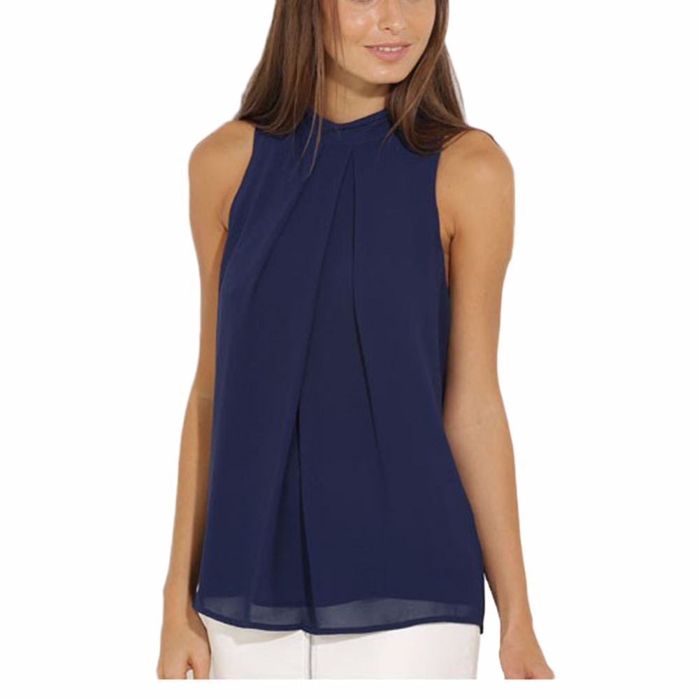 Cockcon Women Summer Blouse Tops Casual Chiffon Sleeveless