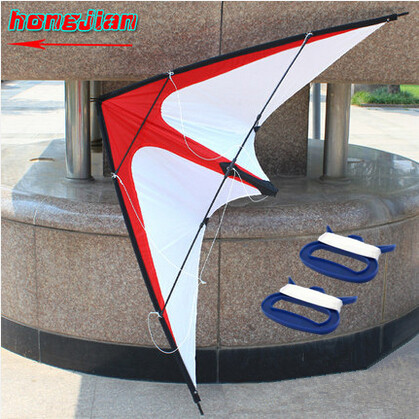 Free Shipping Outdoor Fun Sports NEW 1.6m Dual Line Red /White Stunt Kite With Handle And Line Good Flying(China (Mainland))