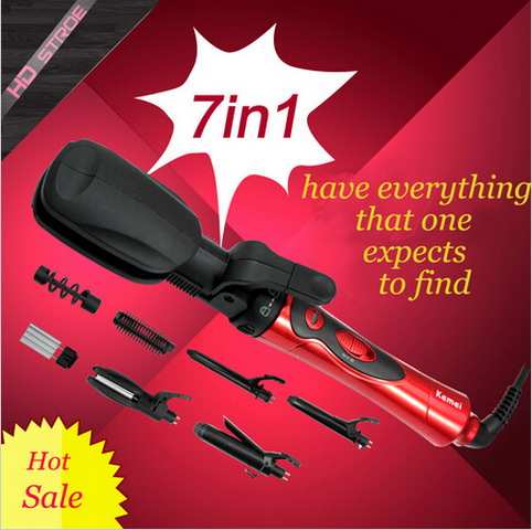 Free shipping 7 in 1 ionic straightening Irons & hair curling iron hair straightener flat iron roller pranchas de cabelo(China (Mainland))