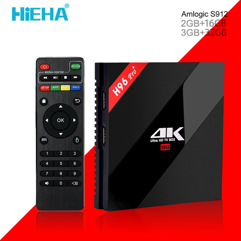 Hieha H96 Pro Plus 4K Android TV Box 3GB Ram 32G Amlogic S912 Kodi Octa Core Set Top Box Andriod 6.0 Dual Wifi Kodi Smart Tv Box(China (Mainland))