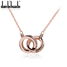 Top Luxury Double Round Crystal Rhinestone Necklaces Rose Gold Necklaces For women  Girl Gifts For Valentine's Day(China (Mainland))