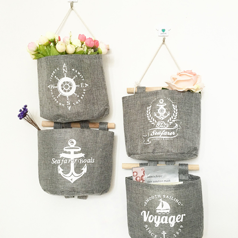 Navy Style Cotton Linen Storage Bag Creative Wardrobe Hang Bag Wall Pouch Cosmetic Toys Organize Pockets Home Storage Bag(China (Mainland))