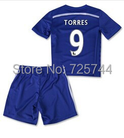 Premier League 2014-2015 Chelsea home Child youth soccer jerseys.#9 Torres kids soccer uniforms 100% emboidery logo(China (Mainland))