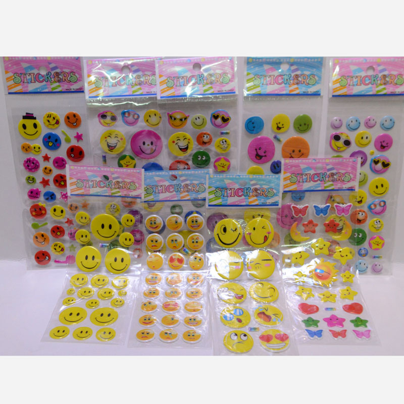 New cartoon smiley face sticker decal Children inspirational perspective bubble prize sticker toys(China (Mainland))