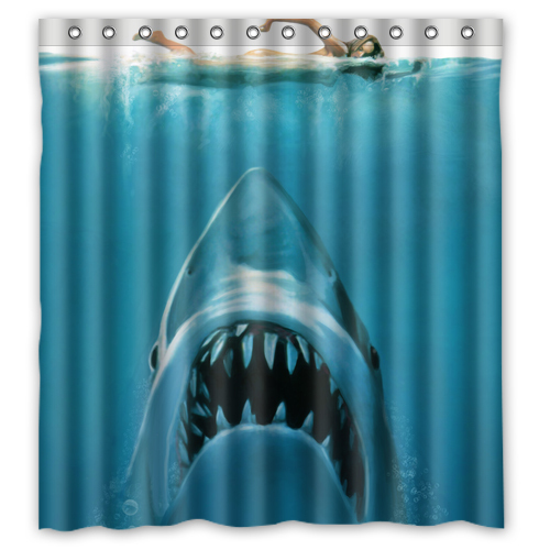 Swimming Sexy Girl The White Shark Custom Made Create Design Your Own Bathroom Curtains 36x72