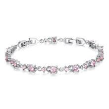 BAMOER 6 kolory luksusowe różowe złoto kolor Chain Link bransoletka dla kobiet panie Shining aaa sześcienne cyrkon kryształ biżuteria JIB013(China)