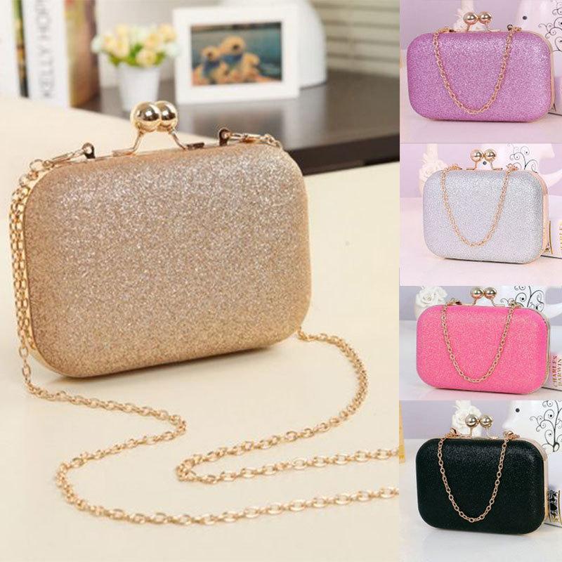 2015 New women banquet bag designer Glitter Chain Clutch Case Box Handbag small satchel bag fashion cute girls clip shoulder bag(China (Mainland))