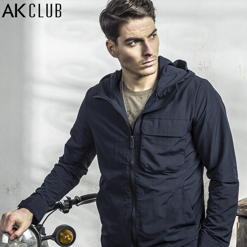 AK CLUB Brand Men Jacket Spring Urban Agent Jacket Thin Hooded Jacket High Quality Nylon Jacket Causal Men Short Coat 1604005(China (Mainland))