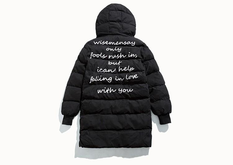 Скидки на С капюшоном Зимнее Пальто Мужчины Долго Parka Мужчины Военная Повседневная Письмо Печати Плюс Размер M-6XL Теплые Мужчины Стеганые Ватные Куртки Прилив