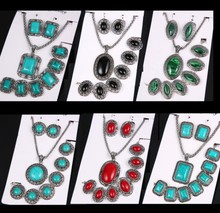 Hot Sale Promotion many Styles Jewelry Sets Vintage Antique Silver  Turquoise Stone Earrings Bracelet Necklace Women Jewelry set(China (Mainland))