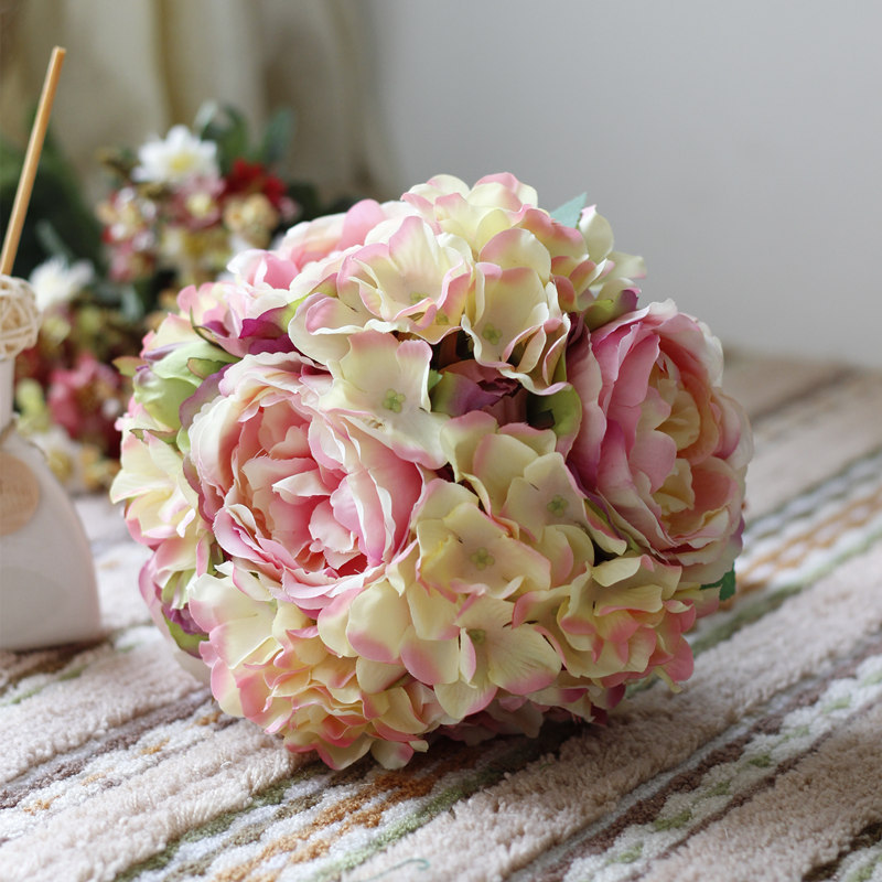 New Classic Pink Peony Hydrangea Bouquet Artificial Flowers Ball Bridesmaid/Bride Bouquet Wedding Flowers(China (Mainland))