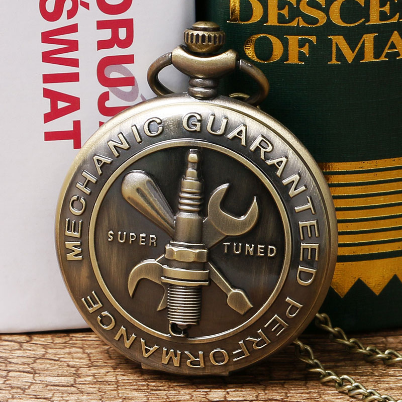 Bronze Vintage Car Crew Tool Mechanic Guaranteed Performance Super Tuned Quartz Analog Pocket Watch with Necklace Chain Gift(China (Mainland))