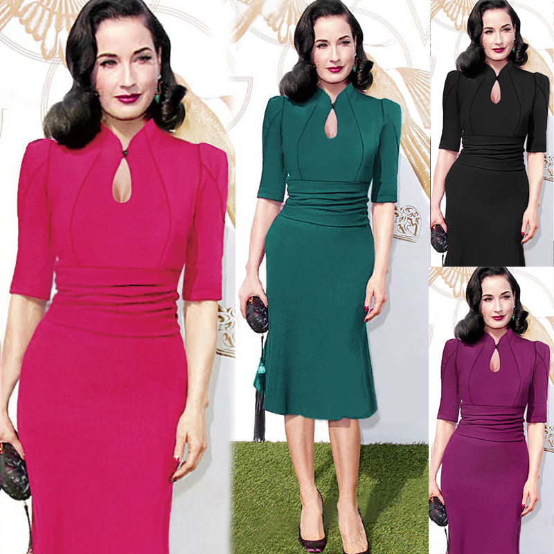 Vestidos women's Europe and the United States with big star temperament brought the waist drape fishtail dress(China (Mainland))