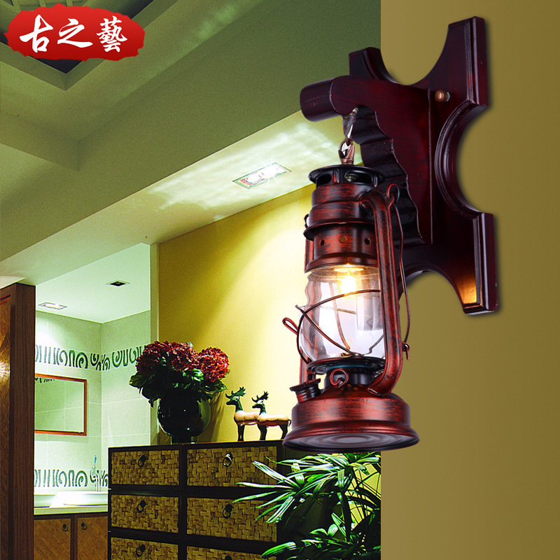 Chinese Lantern Wall Lights : Chinese vintage wood wall sconce lantern creative personality American village pub restaurant ...