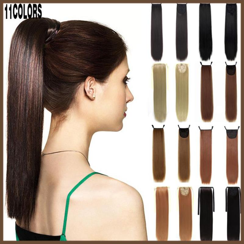 22(55cm) On Sale Wholesale Long Straight Hairpieces Ribbon Ponytail Hair Extensions Synthetic Clip In Hair Peruca Free Shipping<br><br>Aliexpress