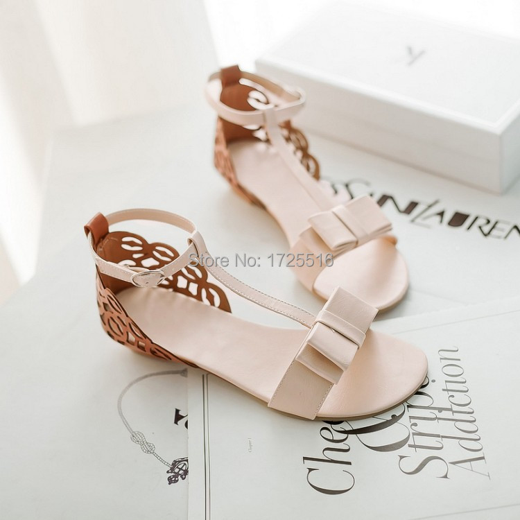34-43 Plus Size Hot2015 New Sweet Freeshipping Pu Adhesive Casual Women Sandals Bow Wedges Shoes Comfortable Flats Special Offer(China (Mainland))