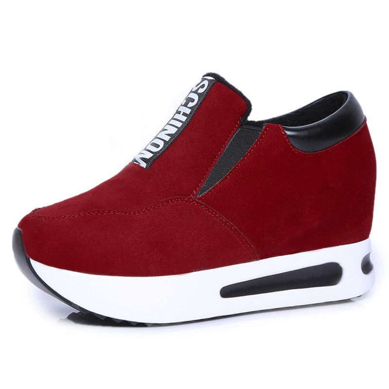 High Quality Women Suede Women Platforms Casual Shoes Fashion Brand Letter Slip-On Height Increasing Solid Casual Women Shoes(China (Mainland))