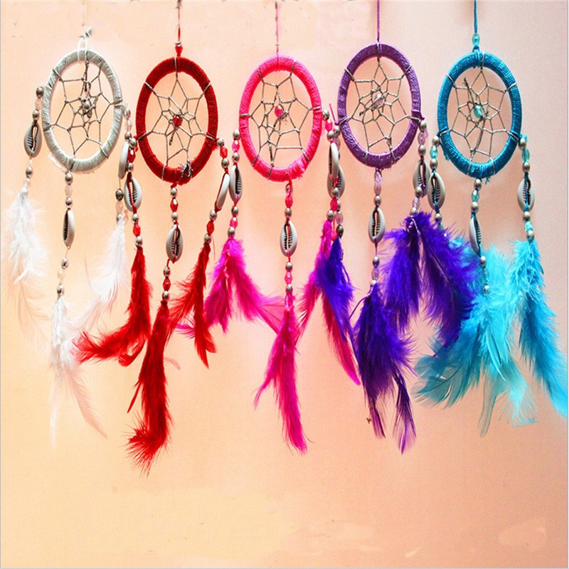 Indian Style Feather Dreamcatcher Car or Wall Hanging Decoration Ornament Solid Color Home Decoration Gift Bells Car Accessories