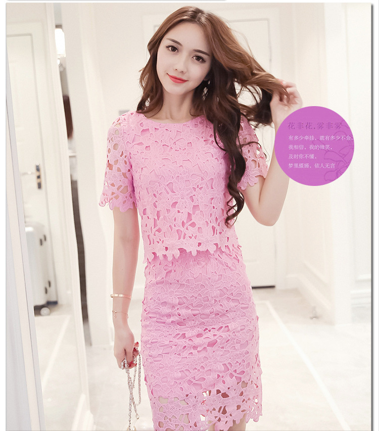 Women Lace Set  O Neck Crop Tops And Skirt Hollow Out Female Suit White Blue Pink 2 Pieces (25)