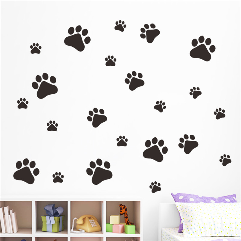 Multicolor Dog Cat Paw Print Wall Stickers Walking Paw