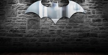 Free Shipping 6 Pieces Dark Knight ! Super-stylish Batman Logo Mirror Wall Mounted Bat Mirror(China (Mainland))