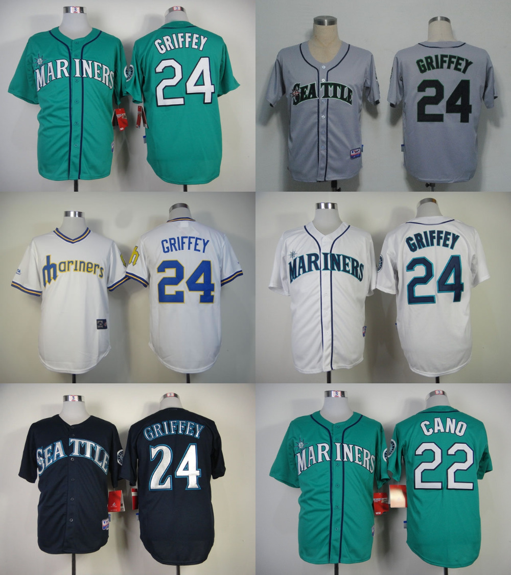 #24 Ken Griffey Jr Jersey Seattle Mariners Baseball Jersey Black Gray White Blue Blank Ken Griffey Jr Cool Base Stitched Jersey(China (Mainland))