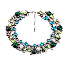 Delicate sparkle costly alloy crystal rhinestone necklace set auger charm women   wz0331(China (Mainland))