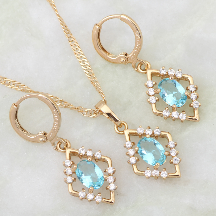 Love Gift jewelry Skyblue cubic zirconia topaz Sets Pendant/Earrings 18K Yellow Gold Plated Jewelry setsS242(China (Mainland))